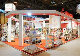 Exhibition stand for Aurora World in their red and white corporate colours
