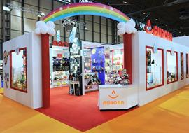 Rainbow feature exhibition stand for Aurora at the NEC in Birmingham