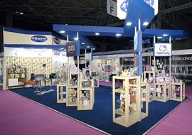 Blue & cream exhibition stand with display pods