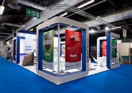 Exhibition stand built for Duralay at Flooring show